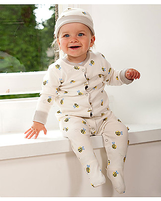 Frugi Buzzy Bee Babygrow, Natural/Buzzy Bee - 100% organic cotton Babygrows