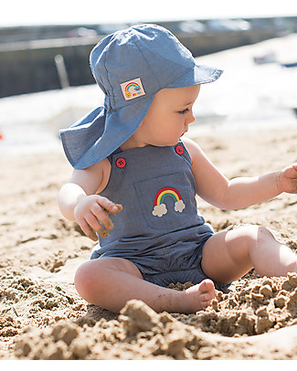 Frugi Cadgwith Dungaree, Chambray with Rainbow - 100% organic cotton Dungarees