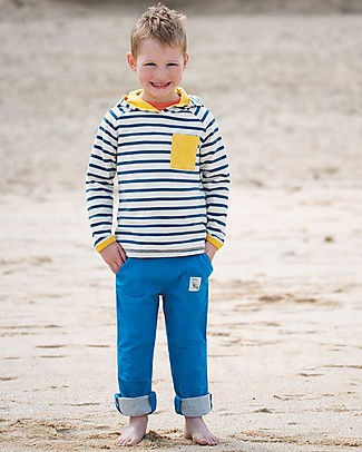 Frugi Campfire Hooded Top, Marine Blue/Chunky Breton - 100% organic cotton  Sweatshirts