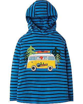 Frugi Campfire Hooded Top, Sail Blue Breton/Campervan - 100% organic cotton  Sweatshirts