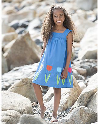 Frugi Celia Dress, Sail Blue/Flower - 100% organic cotton Dresses