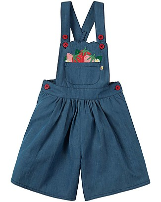 Frugi Chambray Culotte Dungaree, Chambray/Strawberries - 100% organic cotton Dungarees