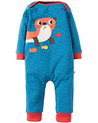 Frugi Charlie Romper, Fish Pattern with Otter - 100% organic cotton Rompers