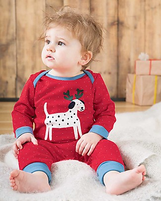 Frugi Charlie Romper, Mars red snowy spot/Dog - organic cotton Rompers