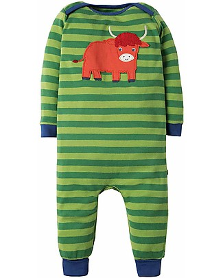 Frugi Charlie Romper, Meadow Stripe/Highland Cow - organic cotton Rompers