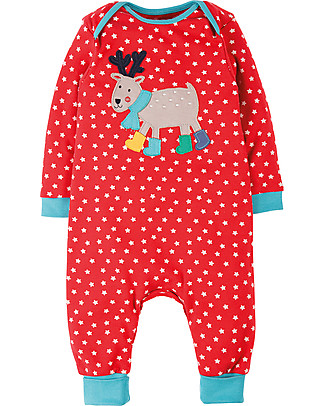 Frugi Charlie Romper, Tomato Stars/Reindeer - 100% organic cotton Rompers