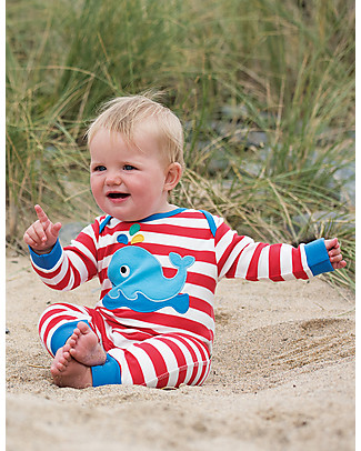 Frugi Charlie Romper, Tomato/White Stripes with Whale - 100% organic cotton Rompers