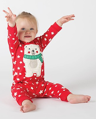Frugi Charlie Romper, Tomato with Twinkle Star and Polar Bear - 100% Organic Cotton Babygrows
