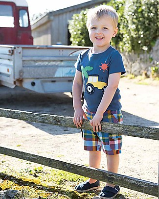 Frugi Check Shorts, Scilly Check (2-4 years) - Organic Cotton Shorts