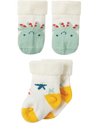 Frugi Comfy Rib Socks 2 Pack, Squid Multipack - Elasticated Cotton Socks