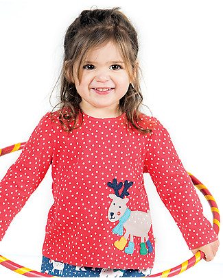 Frugi Connie Applique Top, Tomato Dot/Reindeer Boots - 100% organic cotton Evening Tops