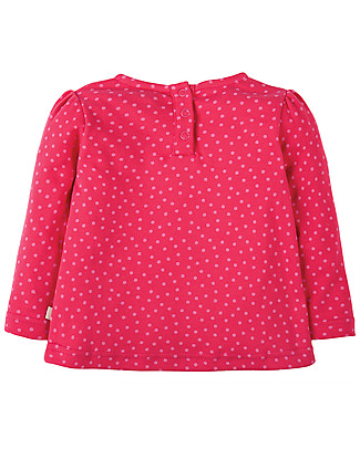 Frugi Connie, Girl's Top with Applique, Dots/Owl - 100% organic cotton Long Sleeves Tops