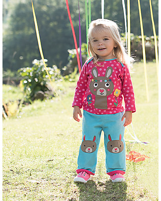 Frugi Cord Kneepatch Trousers with Applique, Aqua/Bunny - 100% organic cotton Trousers