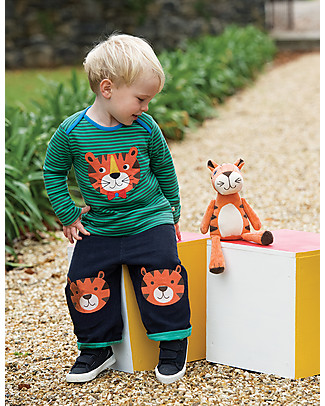 Frugi Cord Kneepatch Trousers with Applique, Navy/Tiger- 100% organic cotton Trousers