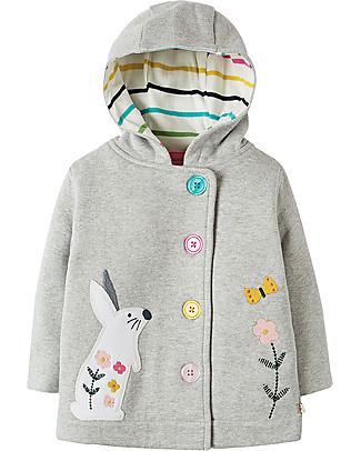 Frugi Cosy Button Up Jacket, Grey Marl/Bunny - 100% cotone bio Jackets