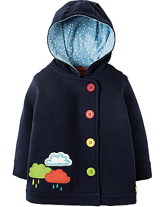 Frugi Cosy Button Up Jacket, Navy/Rainclouds - 100%  organic cotton Jackets