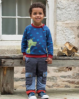 Frugi Cosy Jumper with Buttons and Applique, Westward Wind/Dragon - organic cotton Sweatshirts