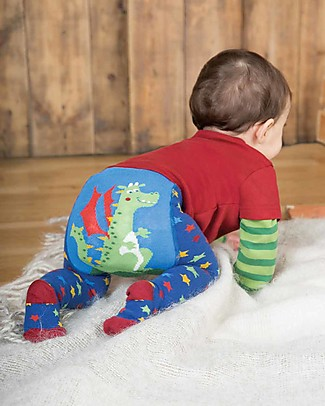 Frugi Crawl Away Tights, Multi Star/Dragon - Organic Cotton (soft and non-scratchy) Tights