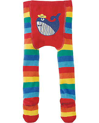 Frugi Crawl Away Tights, Rainbow/Whale - Soft, cosy and non-scratchy Tights