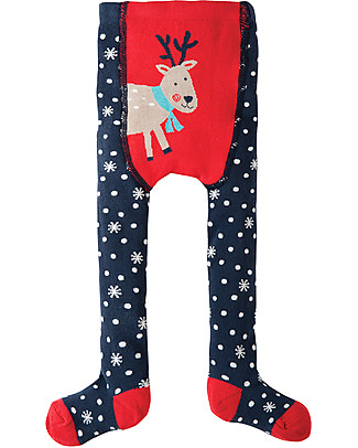 Frugi Crawl Away Tights, Snowflake/Reindeer - 100% organic cotton (soft and non-scratchy) Tights