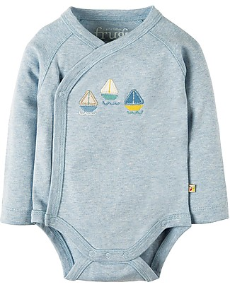 Frugi Cuddly Kimono Body, 2-Pack - Boats - 100% Organic cotton Short Sleeves Bodies