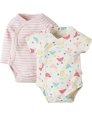 Frugi Cuddly Kimono Body, 2-Pack - Chickadee & Stripes - 100% Organic cotton Short Sleeves Bodies