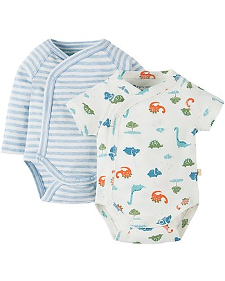 Frugi Cuddly Kimono Body, 2-Pack - Dinky Dinos & Stripes - 100% Organic cotton Short Sleeves Bodies