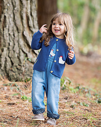 Frugi Cuddly Knitted Cardigan, True Blue/Chickens - 100% organic cotton Cardigans