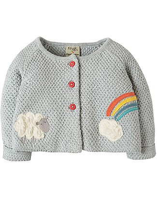 Frugi Cute as a Button Cardigan, Grey Marl/Lamb - 100% organic cotton Cardigans
