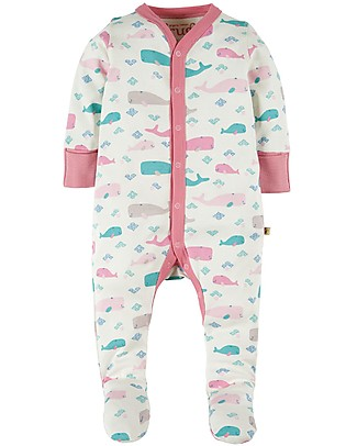 Frugi Darling Babygrow, Little Whale - 100% Organic cotton Babygrows