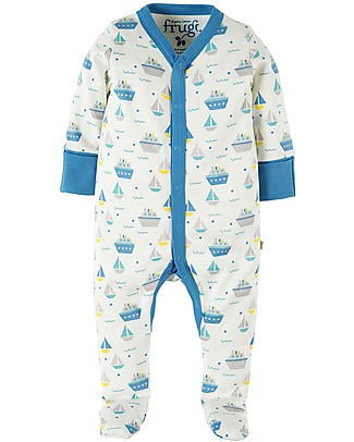 Frugi Darling Babygrow, Summer Seas - 100% Organic cotton Babygrows