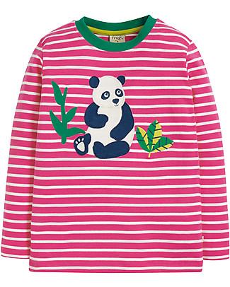 Frugi Discovery Applique Top, Flamengo Breton/Panda - Organic cotton Long Sleeves Tops