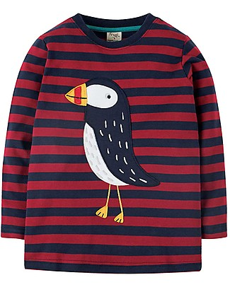 Frugi Discovery Applique Top, Maple Stripe/Puffin - Organic cotton Long Sleeves Tops
