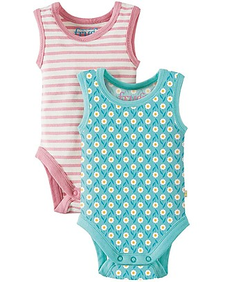 Frugi Dora Vest Body, Pack of 2, Daisy + Stripes - Elasticated Organic Cotton Short Sleeves Bodies