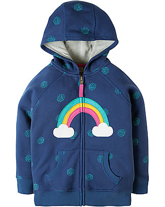 Frugi Dorothy Hoody, True Blue Snowball/Rainbow - 100% organic cotton Sweatshirts