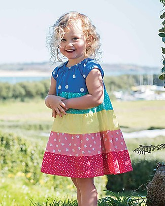 Frugi Dorothy Twirly Dress - Rainbow Hotchpotch - Organic Cotton Dresses