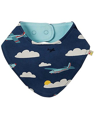 Frugi Dribble Bib, Marine Blue Fly Away - 100% organic cotton Bandana Bibs