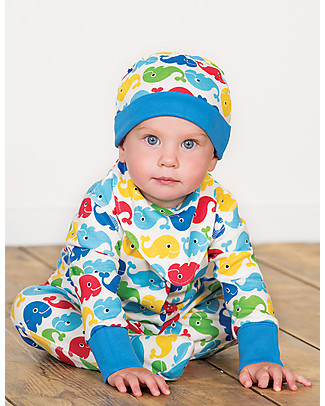 Frugi Dribble Bib, Rainbow Whales - 100% organic cotton Waterproof Bibs