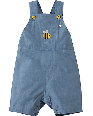 Frugi Durgan Dungaree, Chambray/Bee - 100% organic cotton Dungarees
