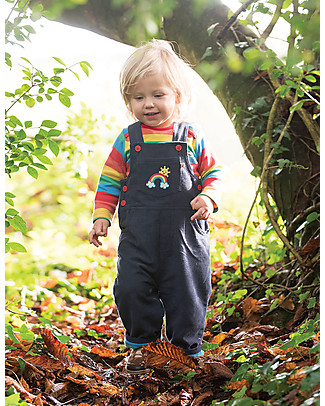 Frugi Dylan Dungarees, Navy/Rainbow - 100% Organic Cotton Dungarees