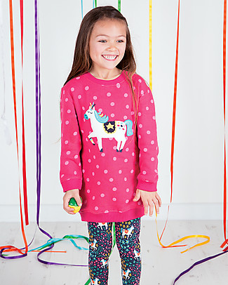 Frugi Eloise Jumper Dress, Raspberry/Pony - 100% organic cotton fleece Dresses