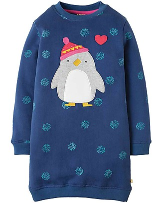 Frugi Eloise Jumper Dress, Snowball/Penguin - organic cotton fleece Dresses
