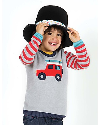 Frugi Elwood Knitted Jumper, Grey/Red Truck - 100% organic cotton Jumpers