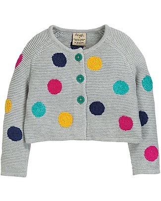 Frugi Emilia Embroidered Cardigan, Grey Marl/Multi Spot - 100% organic cotton Cardigans