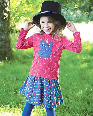 Frugi Erin Applique Top with Long Sleeves, Raspberry Dot/Owl - 100% Organic Cotton Long Sleeves Tops