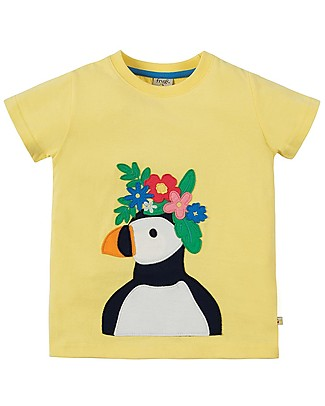 Frugi Evie Applique T-shirt, Sunshine/Puffin - 100% Organic Cotton T-Shirts And Vests