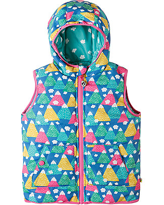 Frugi Explorer Reversible Padded Gilet,  Happy Hickers - Eco-friendly, 100% Waterproof! Cardigans