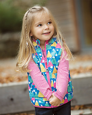 Frugi Explorer Reversible Padded Gilet,  Happy Hickers - Recycled polyester Cardigans