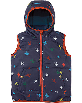 Frugi Explorer Reversible Padded Gilet,  Northern Stars/Stripes - Eco-friendly, 100% Waterproof! Cardigans