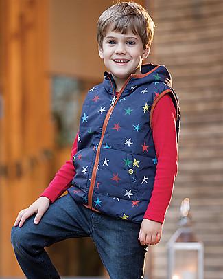 Frugi Explorer Reversible Padded Gilet,  Northern Stars/Stripes - Recycled polyester Cardigans
